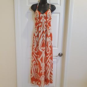 Orange and White Maxi Dress